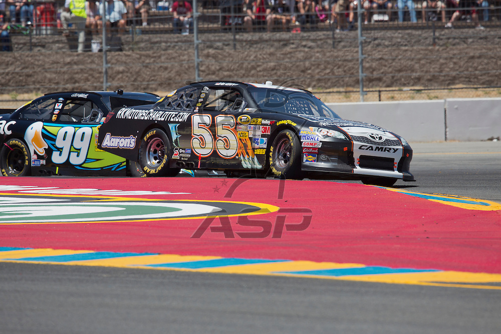SONOMA, CA - JUN 24, 2012:  Brian Vickers (55) brings his car through the turns during the Toyota Save Mart 350 at the Raceway at Sonoma in Sonoma, CA.