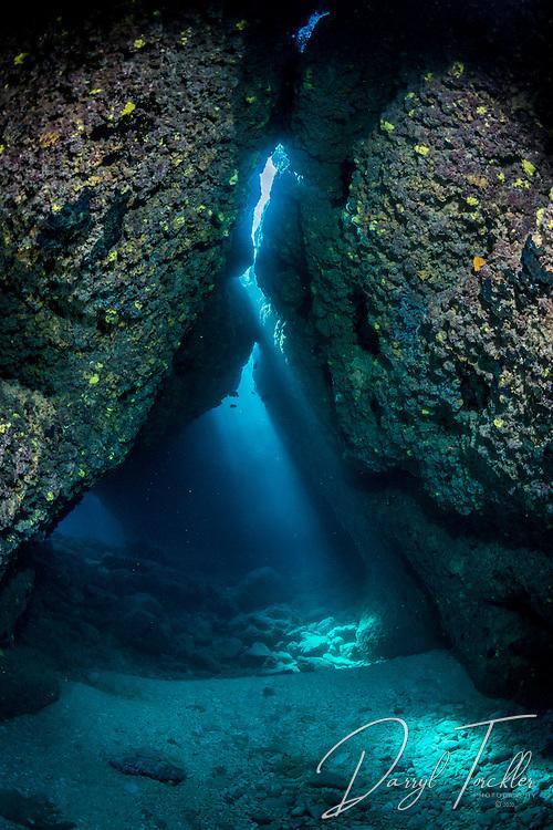 Curtains of light in Croc caverns, Rarotonga.