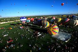 Aerial of Hot Air Balloons at Albuquerque Balloon Festival