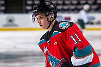 KELOWNA, BC - SEPTEMBER 28:  Pavel Novak #11 of the Kelowna Rockets warms up against the Everett Silvertips at Prospera Place on September 28, 2019 in Kelowna, Canada. (Photo by Marissa Baecker/Shoot the Breeze)