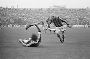 Player fallen to the ground during the All Ireland Senior Hurling Final - Kilkenny v Galway, Kilkenny 2-12, Galway 1-8, 2nd September 1979.