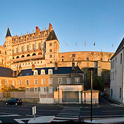 Late afternoon light on the Castle of Amboise in the Loire Valley, France. High resolution panorama.