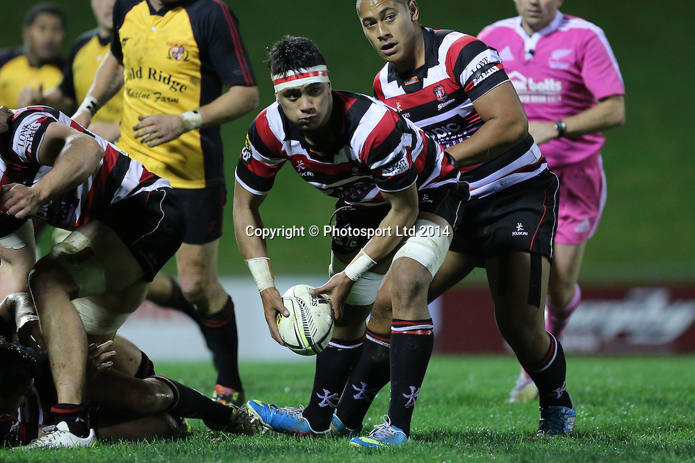 Counties Savelio Ropati in action. Ranfurly Shield Match, Counties Manukau Steelers v Thames Valley Swamp Foxes, ECOlight Stadium, Pukekohe, Auckland, Wednesday  2nd July 2014. Photo: David Joseph / photosport.co.nz