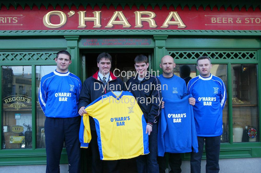3/1/2003 .Re Jim Rhatigan.Pictured at the announcement of the new sponsorship of Thomastown A.F.C by O Hara's Bar in Thomastown was from left Derek Brennan A Team, Shem O Hara proprieter O Hara's Bar, Derek Dack club secetary, Kevin O Sullivan B team manager and Pakie Walsh B team captain.