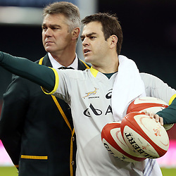 CARDIFF, WALES - NOVEMBER 28: Heyneke Meyer (Head Coach) of South Africa  with Johann van Graan Forwards Coach of South Africa during the South African national rugby team photo and captains run at Millennium Stadium on November 28, 2014 in Cardiff, Wales. (Photo by Steve Haag/Gallo Images)