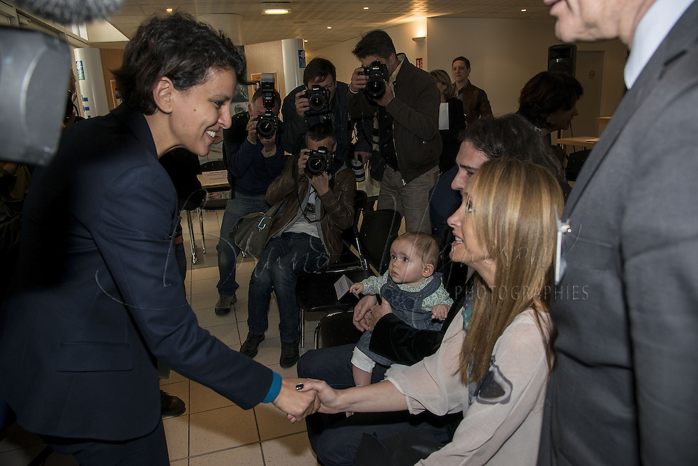 LYON, FRANCE - APRIL 11: Minister of Women's right, Town, Youth and Sport of the new french government, Najat Vallaud-Belkacem visits Lyon's CAF to deliver message about the new disposal authorizing a better come back to professional life for parents on April 11, 2014 in Lyon, France. During the visit, the Minister will sign an agreement with Pole emploi and the National Family Allowances Fund (CNAF) to meet the specific needs of recipients. (Photo by Bruno Vigneron/Getty Images)