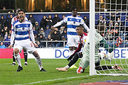 GOAL 1-1 QPR midfielder Massimo Luongo (21) scores Queens Park Rangers' equaliser during the EFL Sky Bet Championship match between Queens Park Rangers and Brentford at the Loftus Road Stadium, London, England on 10 November 2018.