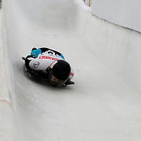 27 February 2007:  Nozomi Komuro of Japan comes out of turn 13 in the 3rd run at the Women's Skeleton World Championships competition on February 27 at the Olympic Sports Complex in Lake Placid, NY.