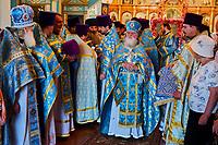 Kirghizistan, province de Issyk Koul, ville de Karakol, cérémonie dans l'eglise orthodoxe russe // Kyrgyzstan, Issyk Kul province, Karakol city, ceremony in a Russian Orthodox church