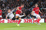 Derby County forward Martyn Waghorn (9) shoots at goal during the EFL Sky Bet Championship match between Derby County and Bristol City at the Pride Park, Derby, England on 20 August 2019.