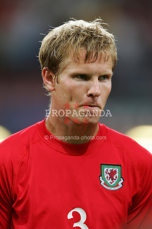 CARDIFF, WALES - Wednesday, September 8, 2004: Wales' Ben Thatcher lines-up before the Group Six World Cup Qualifier against Northern Ireland at the Millennium Stadium. (Pic by David Rawcliffe/Propaganda)