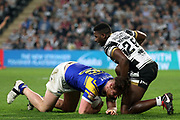 Hull FC prop forward Masi Matongo (29) brings down a Leeds Rhinos player during the Betfred Super League match between Hull FC and Leeds Rhinos at Kingston Communications Stadium, Hull, United Kingdom on 19 April 2018. Picture by Mick Atkins.