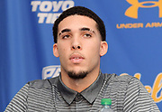 Nov 15, 2017; Los Angeles, CA, USA; UCLA Bruins guard LiAngelo Ball speaks during a press conference at Pauley Pavilion regarding arrest of Ball and freshman teammates Jalen Hill and Cody Riley (both not pictured) in China for shoplifting. Ball is the son of LaVar Ball and Los Angeles Lakers guard Lonzo Ball (both not pictured).