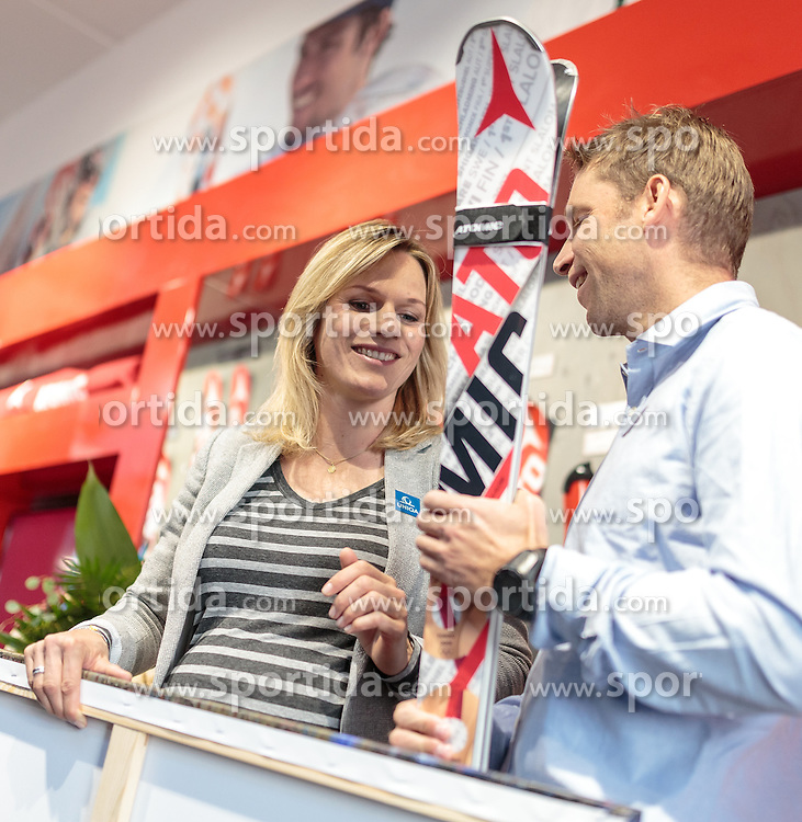 05.10.2015, Atomic Homebase, Altenmarkt, AUT, Atomic Medien Tag, im Bild v.l.: Marlies Raich (AUT), Benjamin Raich (AUT) // during the Atomic Media Day at Atomic Homebase in Altenmarkt, Austria on 2015/10/05. EXPA Pictures © 2015, PhotoCredit: EXPA/ JFK
