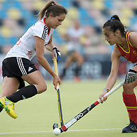 MONCHENGLADBACH - Junior World Cup<br /> Pool D: Germany - Spain<br /> photo:  Pia-Sophier Oldhafer (white) and Maider Altuna (red).<br /> COPYRIGHT  FFU PRESS AGENCY/ FRANK UIJLENBROEK