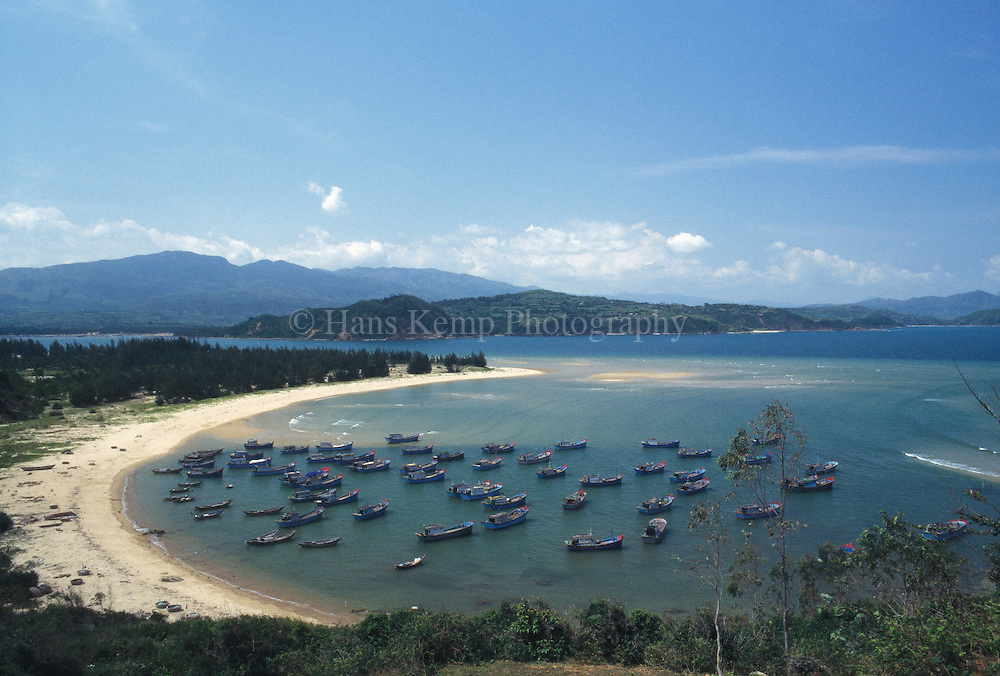 Coast line near Qui Nhon with fishing boats