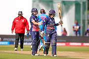 England womens cricket Fran Wilson goes to her 50 and half century during the ICC Women's World Cup match between England and India at the 3aaa County Ground, Derby, United Kingdom on 24 June 2017. Photo by Simon Davies.