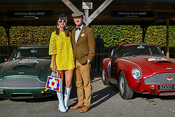 © Licensed to London News Pictures.09/09/2018. Goodwood. West Sussex, UK. <br /> The Goodwood motor circuit celebrates the 20th anniversary of the Revival.The Revival has become one of the biggest annual historic motorsport events in the world and the only one to be staged entirely in period dress. Each year over 150,000 people descend on this quiet corner of West Sussex to enjoy the three-day event. <br /> Pictured. Lauren Cautely and Robert Burner from London.<br /> Photo credit: Ian Whittaker/LNP