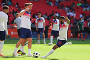 England Raheem Sterling (10), England Harry Kane (9), England Jesse Lingard (7) warming up during the Friendly International match between England and Nigeria at Wembley Stadium, London, England on 2 June 2018. Picture by Matthew Redman.