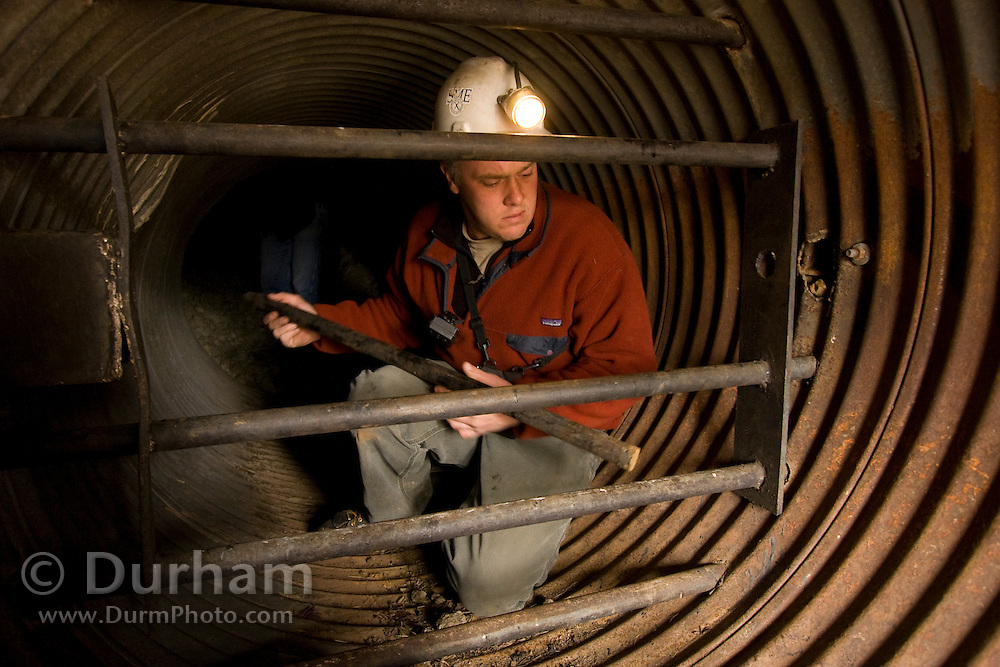 Geologist and mining engineer Greg Graham examines a bat gate damaged by vandals at the entrance to the abandoned Smoking Dump gold mine. The damage completely destroyed the lock and latch. The gate is designed to allow bats access to the spaces where they hibernate and roost in the mine interior while keeping human visitors and other large animals excluded. Greg is going to inspect the mine in preparation for a bat survey by biologists. Coleville National Forest, Washington.