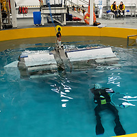 SCAA Paramedics Huet Training at Clyde Training Solutions…14.11.18<br />The helicopter simulator capsizes during  helicopter underwater escape training (HUET)<br />Picture by Graeme Hart.<br />Copyright Perthshire Picture Agency<br />Tel: 01738 623350  Mobile: 07990 594431