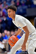 Middle Tennessee Blue Raiders guard Donovan Sims (3) dribbles the ball against the Mississippi Rebels during an NCAA college basketball game in Nashville, Tenn., Friday, Dec. 21, 2018. (Jim Brown/Image of Sport)