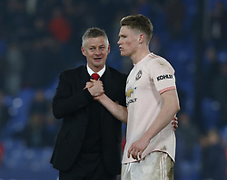 February 27, 2019 - London, England, United Kingdom - Manchester United manager Ole Gunnar Solskjaer  shanks hands with Manchester United's Scott McTominary.during English Premier League between Crystal Palace and Manchester  United at Selhurst Park stadium , London, England on 27 Feb 2019. (Credit Image: © Action Foto Sport/NurPhoto via ZUMA Press)