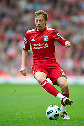 LIVERPOOL, ENGLAND - Saturday, April 23, 2011: Liverpool's Lucas Leiva in action against Birmingham City during the Premiership match at Anfield. (Photo by David Rawcliffe/Propaganda)