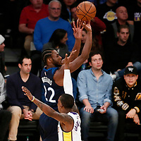 25 December 2017: Minnesota Timberwolves forward Andrew Wiggins (22) takes a jump shot during the Minnesota Timberwolves 121-104 victory over the LA Lakers, at the Staples Center, Los Angeles, California, USA.