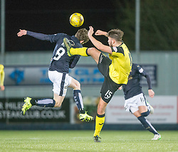 Falkirk's Blair Alston and Livingston Morgan Neill. Falkirk 2 v 0 Livingston, Scottish Championship game played 29/12/2015 at The Falkirk Stadium.