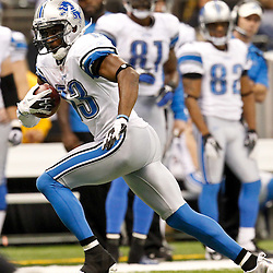 December 4, 2011; New Orleans, LA, USA; Detroit Lions wide receiver Nate Burleson (13) against the New Orleans Saints during a game at the Mercedes-Benz Superdome. The Saints defeated the Lions 31-17. Mandatory Credit: Derick E. Hingle-US PRESSWIRE
