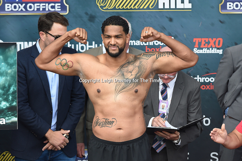 Dominic Breazeale weighs in at the West Piazza, Covent Garden, London on the 24th June 2016 ahead of his fight with Anthony Joshua. © Leigh Dawney for The Times.