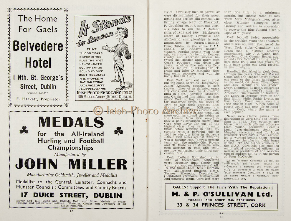 All Ireland Senior Hurling Championship Final, .Brochures,.05.09.1943, 09.05.1943, 5th September 1943, .Antrim 0-4, Cork 5-16,.Minor Dublin v Kilkenny, .Senior Antrim v Cork, .Croke Park, ..Advertisements, Belvedere Hotel, Irish Photo-Engraving Co LTD, John Miller Manufacturing Goldsmith Jeweller and Medallist, M & P O'Sullivan Ltd Tobacco and Snuff Manufacturers,