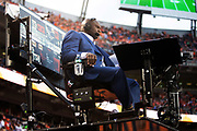 Former Tampa Bay Buccaneers defensive tackle Booger McFarland broadcasts the ESPN Monday Night Football telecast from an elevated sideline mobile platform during the Denver Broncos NFL week 4 regular season football game against the Kansas City Chiefs on Monday, Oct. 1, 2018 in Denver. The Chiefs won the game 27-23. (©Paul Anthony Spinelli)