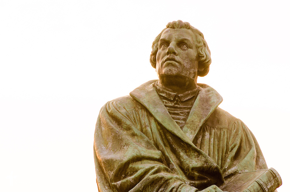 The Martin Luther statue at Concordia University, Saint Paul, on Wednesday, August 6, 2014, in St. Paul, Minn.   LCMS Communications/Erik M. Lunsford
