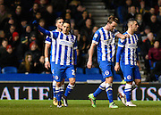 Brighton midfielder, Anthony Knockaert (27) celebrates his goal to make  it 1-0 to Brighton during the Sky Bet Championship match between Brighton and Hove Albion and Brentford at the American Express Community Stadium, Brighton and Hove, England on 5 February 2016. Photo by David Charbit.