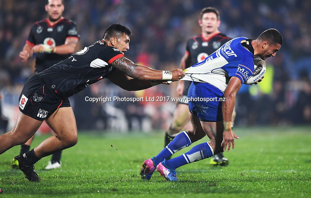 Albert Vete tackles Canterbury's Marcelo Montoya.<br /> Vodafone Warriors v  Canterbury Bulldogs. NRL Rugby League. Mt Smart Stadium, Auckland, New Zealand. Friday 23 June 2017 &copy; Copyright Photo: Andrew Cornaga / www.Photosport.nz