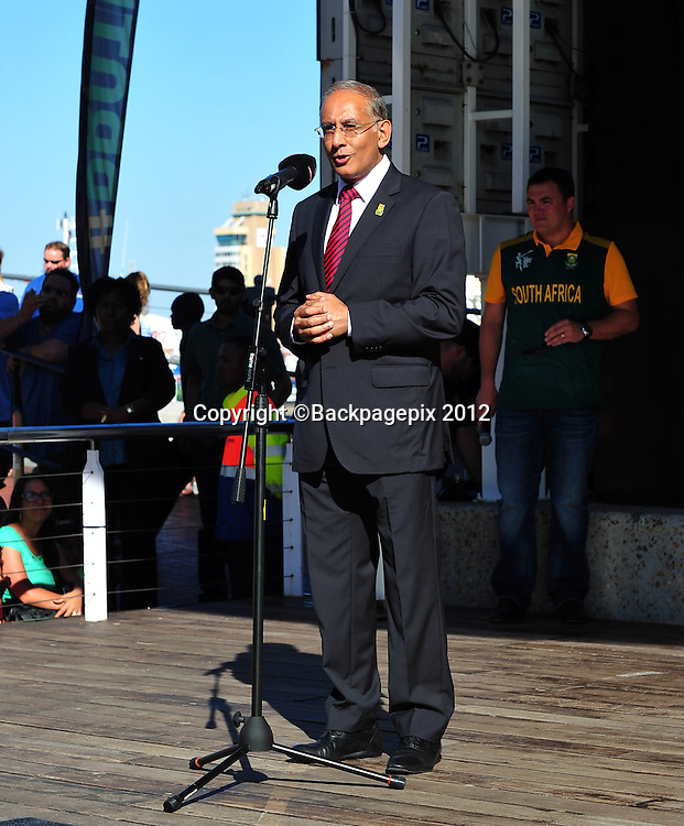 Haroon Lorgat (CEO of Cricket South Africa) during the 2015 Cricket World Cup Protea squad announcement  at the V&A Waterfront, Cape Town on 7 January 2015 ©Ryan Wilkisky/BackpagePix