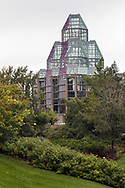 View of the National Gallery of Canada from Major's Hill Park in Ottawa, Ontario, Canada. The National Gallery of Canada was established in 1880 and this building was opened in 1988.