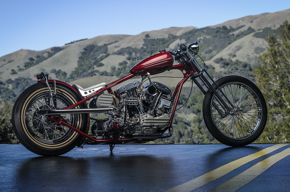 Stretched shovelhead chopper   personal collection of James Hetfield
