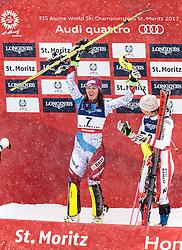 10.02.2017, St. Moritz, SUI, FIS Weltmeisterschaften Ski Alpin, St. Moritz 2017, alpine Kombination, Damen, Siegerpräsentation, im Bild v.l. Wendy Holdener (SUI, Weltmeister und Goldmedaille Alpine Kombination der Damen), Michaela Kirchgasser (AUT, Bronzemedaille Alpine Kombination der Damen) // ladie's Alpin Combined Goldmedalist and World Champion Wendy Holdener of Switzerland ladie's Alpin Combined bronze medalist Michaela Kirchgasser of Austria during the winnerpresentation for the ladie's Alpine combination of the FIS Ski World Championships 2017. St. Moritz, Switzerland on 2017/02/10. EXPA Pictures © 2017, PhotoCredit: EXPA/ Johann Groder