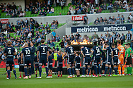 Victory prior to kick off at the Hyundai A-League Round 4 soccer match between Melbourne Victory and Central Coast Mariners at AAMI Park in Melbourne.