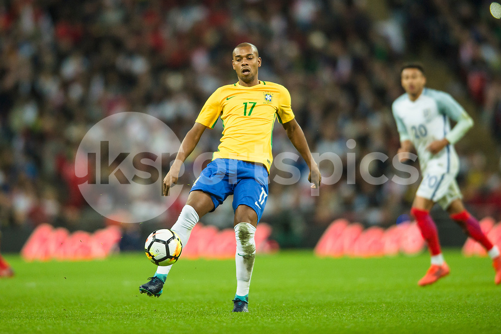 Fernandinho of Brazil in action during the international friendly match between England and Brazil at Wembley Stadium, London, England on 14 November 2017. Photo by Darren Musgrove.