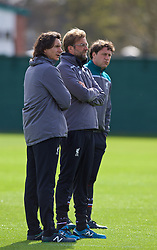LIVERPOOL, ENGLAND - Wednesday, April 13, 2016: Liverpool's manager Jürgen Klopp and his assistant manager Zeljko Buvac and first team coach Peter Krawietz during a training session at Melwood Training Ground ahead of the UEFA Europa League Quarter-Final 2nd Leg match against Borussia Dortmund. (Pic by David Rawcliffe/Propaganda)