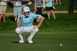 August 9, 2018 - Town And Country, Missouri, U.S - BRANDT SNEDEKER from Nashville Tennessee, USA  lines up his putt on hole 14 during round one of the 100th PGA Championship on Thursday, August 8, 2018, held at Bellerive Country Club in Town and Country, MO (Photo credit Richard Ulreich / ZUMA Press) (Credit Image: © Richard Ulreich via ZUMA Wire)