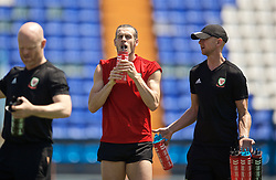 OSIJEK, CROATIA - Friday, June 7, 2019: Wales' Gareth Bale drinks water from a PAS bottle during a training session where the temperature reached 30 degrees Celsius at Stadion Gradski vrt ahead of the UEFA Euro 2020 Qualifying Group E match against Croatia. (Pic by David Rawcliffe/Propaganda)