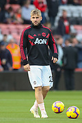 Manchester United Defender Luke Shaw warm up during the Premier League match between Bournemouth and Manchester United at the Vitality Stadium, Bournemouth, England on 3 November 2018.