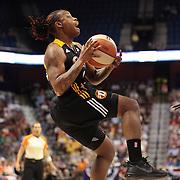 Sydney Carter, Tulsa Shock, drives to the basket during the Connecticut Sun V Tulsa Shock WNBA regular game at Mohegan Sun Arena, Uncasville, Connecticut, USA. 2nd July 2013. Photo Tim Clayton
