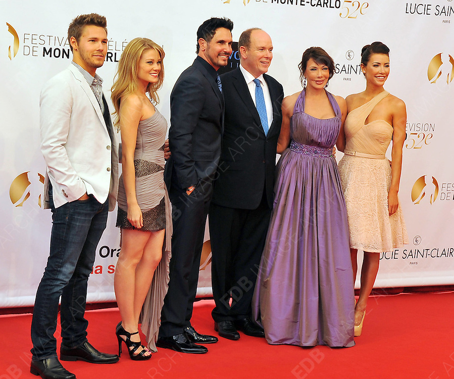 10.JUNE.2012. MONACO<br /> <br /> PRINCE ALBERT OF MONACO ATTENDS THE OPENING CEREMONY OF THE 52ND MONTE CARLO TELEVISION FESTIVAL HELD AT THE GRAMALDI FORUM ALONG SIDE THE CAST OF THE BOLD AND THE BEAUTIFUL.(FROM LEFT TO RIGHT) SCOTT CLIFTON, KIM MATULA, DON DIAMONT, HUNTER TYLO AND JACQUELINE MAC.  <br /> <br /> BYLINE: EDBIMAGEARCHIVE.CO.UK<br /> <br /> *THIS IMAGE IS STRICTLY FOR UK NEWSPAPERS AND MAGAZINES ONLY*<br /> *FOR WORLD WIDE SALES AND WEB USE PLEASE CONTACT EDBIMAGEARCHIVE - 0208 954 5968*