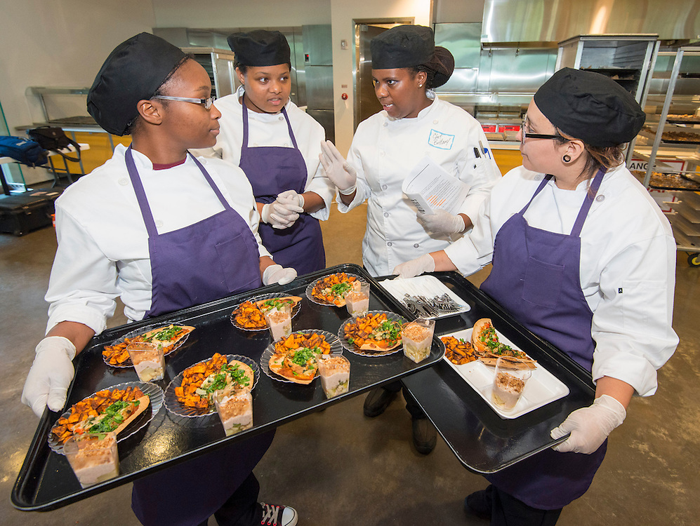 Students from Davis High School participate in  the Cooking for Change challenge at Rice University, April 12, 2014.